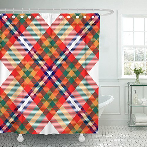 British Colonial Fabric - Breezat Shower Curtain Check Madras Plaid Pattern Checkered in Bright Red Orange Green Blue and White Bedding Waterproof Polyester Fabric 60 x 72 Inches Set with Hooks