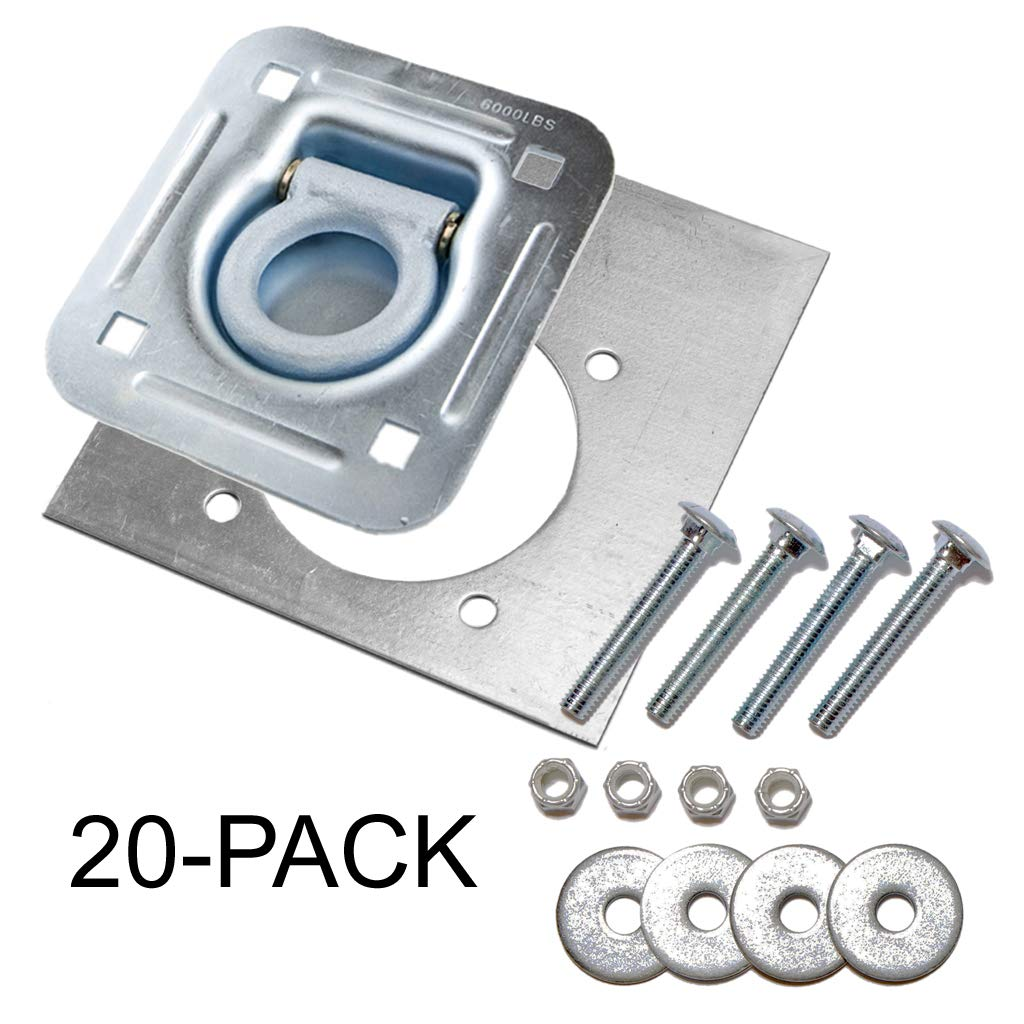 Farm Tough Tools D-Ring Recessed 6,000 lb. Tie Down and Backing Plate w/2-1/2 Hardware 20-Pack