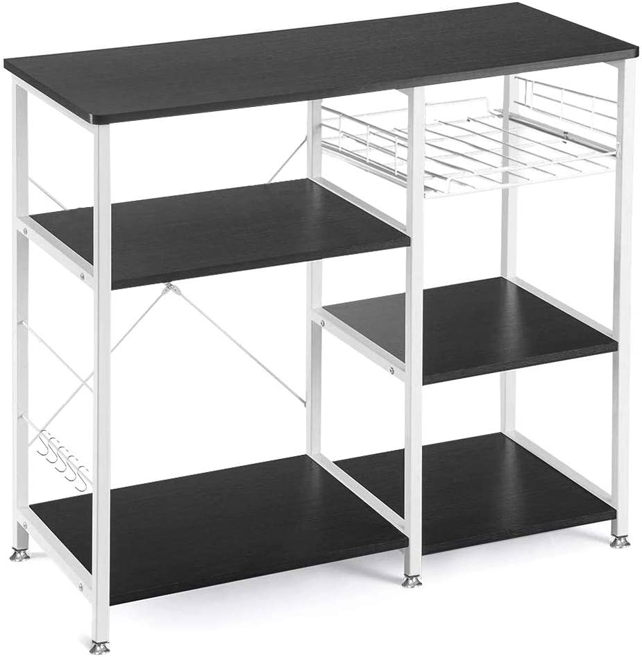 VANSPACE 35.5 inches Kitchen Baker s Rack Utility Storage Shelf Microwave Stand 3-Tier 3-Tier Kitchen Storage Cart Table for Spice Rack Organizer Workstation with 5 Hooks – Black Brown
