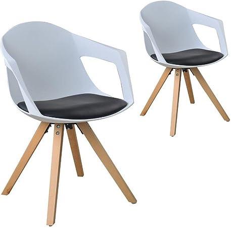 Juego de 2 sillas nórdicas de Madera con reposabrazos, Color Negro y Blanco: Amazon.es: Hogar
