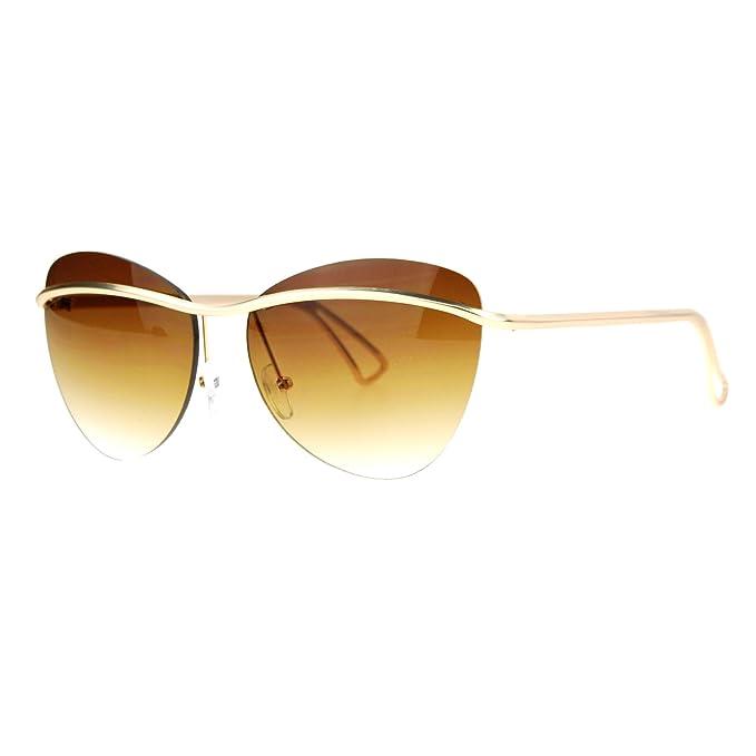 Amazon.com: Womens Rimless Moda anteojos de sol Metal Barra ...