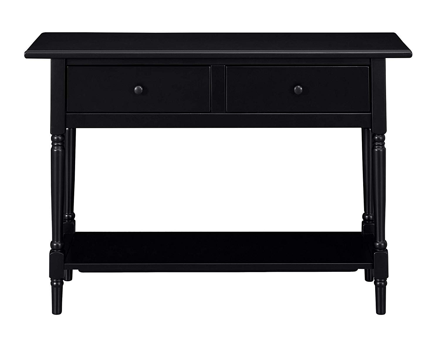 MUSEHOMEINC Wood Classic Console Table,with 2-Drawers and 1- Shelf,Modern Turned Wood Leg,Round Metal knobs,Black Finish
