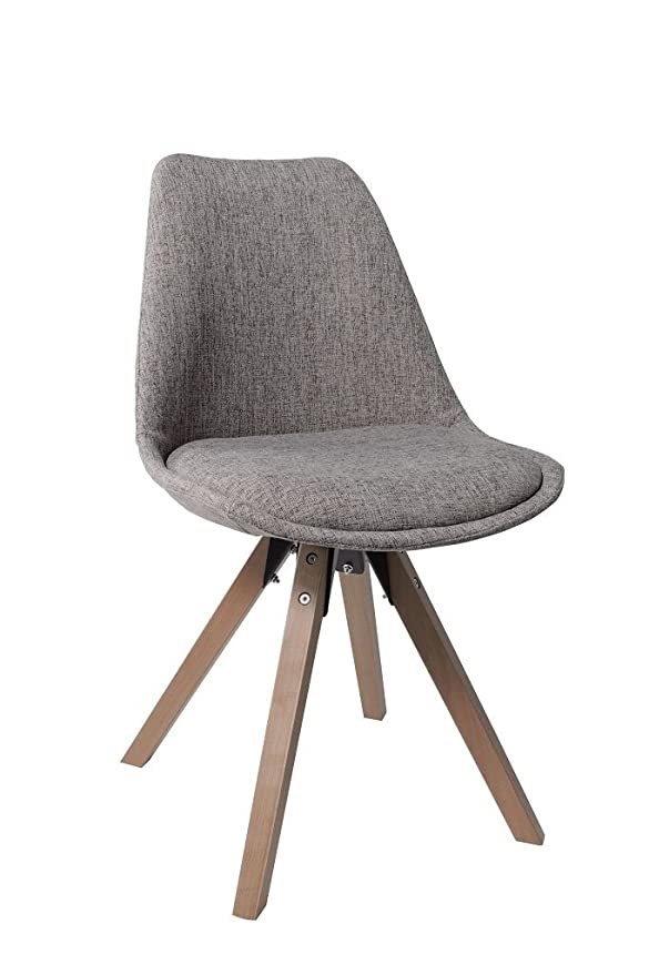 Stuhl Esszimmerstühle Grau Küchenstühle 2 er Set mit Holzbeinen ...