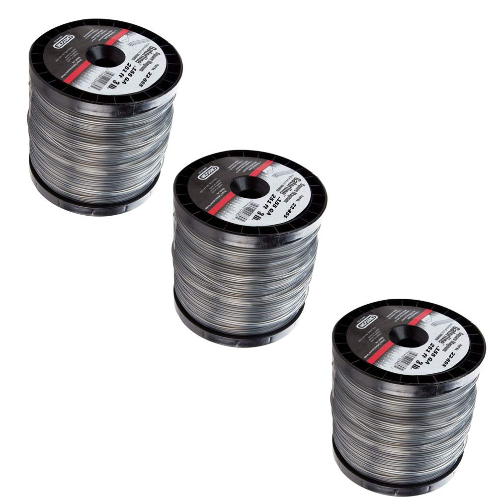 3 Pack Oregon Magnum Gatorline 3 Lb 251' Spool 0.155'' Gauge Commercial Grade Square String Trimmer Line