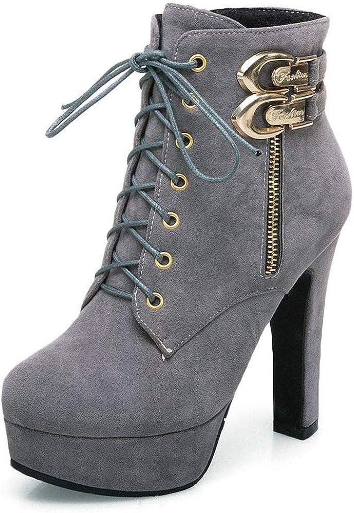 Botas de Mujeres Zapatos de tacón Cuadrado de Moda para Mujer ...
