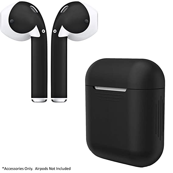 big sale 6924b c18ff AirPod Charging Protective Case Silicone Cover and Stylish Protective Skins  Bundle (Black Case & Matte Black Skin)