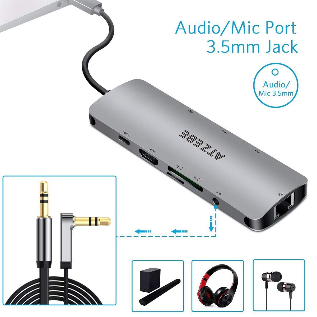 SD//TF Card Reader Type C Adapter with 4k HDMI USB C Power Delivery ATZEBE USB C Hub 3 USB 3.0 Ports Gigabit Ethernet