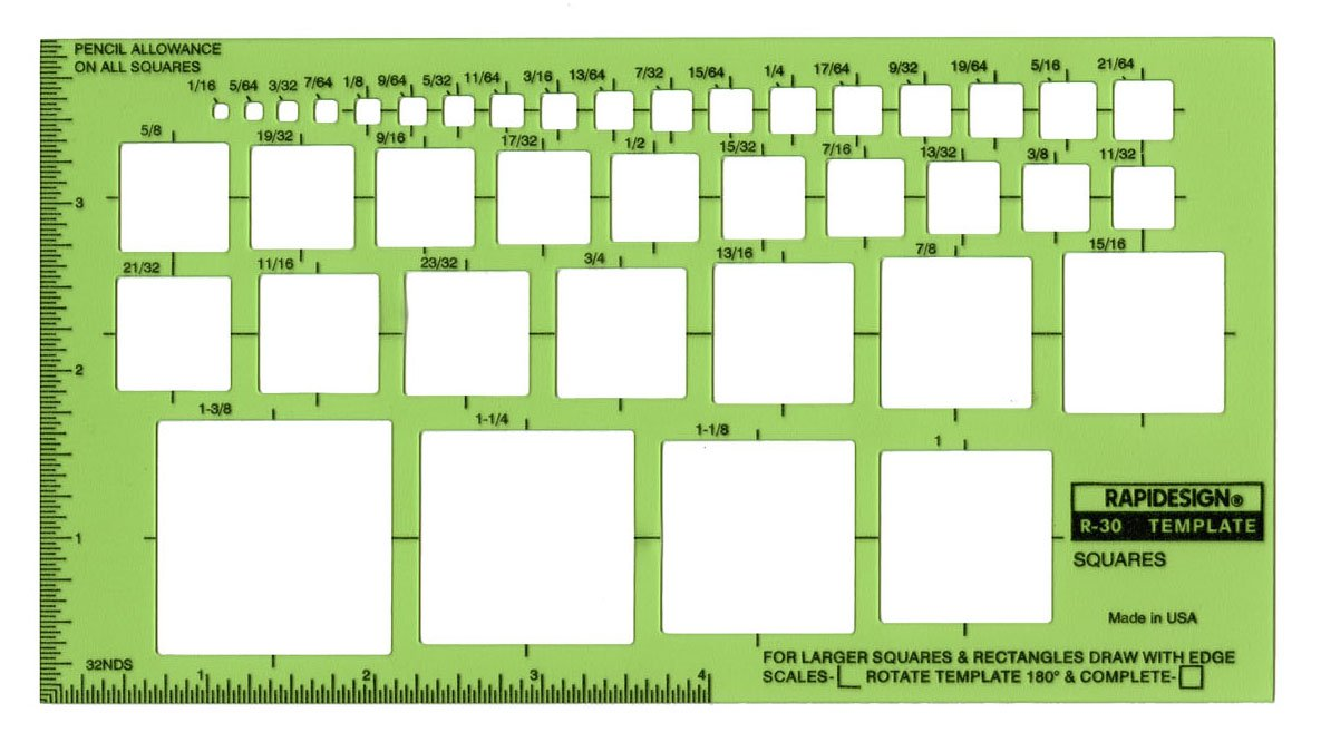 Rapidesign Squares Template, 1 Each (R30) by RAPIDESIGN