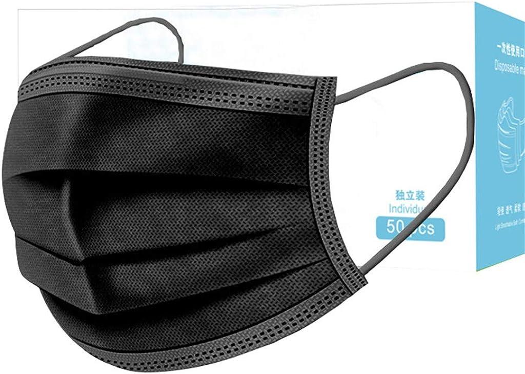 Hanomes Una Caja de 50 Piezas de Máscaras de Carbón Activado Embaladas Individualmente Máscaras de 3 Capas Máscaras Desechables Negro Máscara de CarbónActivado Máscara de Boca de Polvo de Tela