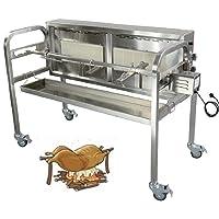 Spanferkelgrill 1-flammig XXL Edelstahl silber Turning Roaster Garten ✔ Lenkrollen mit Bremse ✔ eckig ✔ rollbar ✔ Grillen mit Gas ✔ mit Rädern