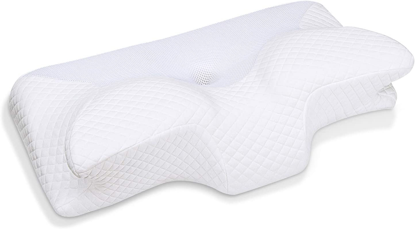 HOMCA Cervical Memory Foam Pillow, Ergonomic Contour Orthopedic Pillow for Neck Pain, Contoured Support Pillows for Side Back Stomach Sleepers, (White)