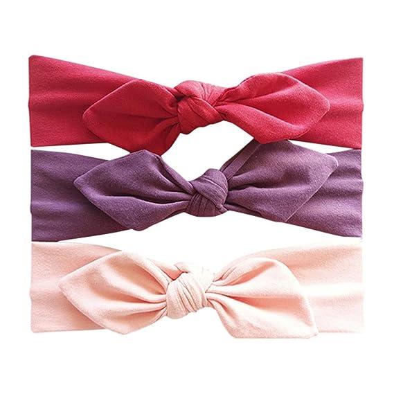 Huhu833 3 St/ück Baby Stirnb/änder Kinder Blumen Stirnband M/ädchen Baby Elastische Bowknot Zubeh/ör Haarband Set