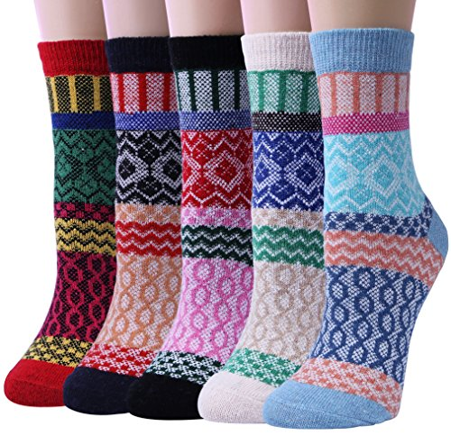 5 Pairs Womens Cold Weather Soft Warm Thick Knit Crew Casual Winter Wool Socks,Multicolor 06,One Size from Loritta