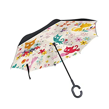 ALINLO Paraguas invertido Colorido patrón de Gatos, Doble Capa reversa Paraguas Impermeable para Coche Lluvia al Aire Libre con Mango en Forma de C: ...
