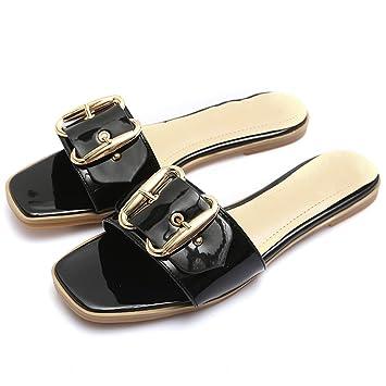a89453b746c6b2 XIAOLIN-Été des sandales Mesdames pantoufles femme été pantoufles en forme  de H plat avec la plage chaussures plates été en cuir ...