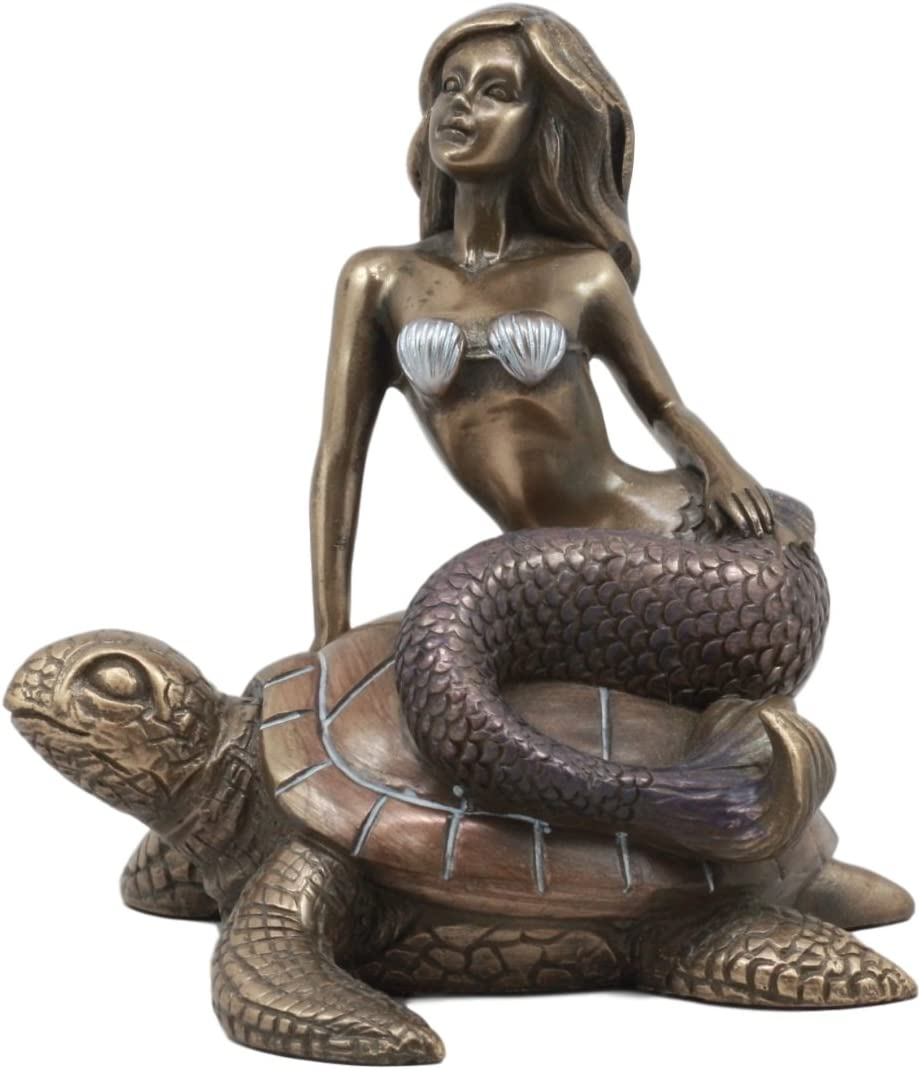 Ebros Ocean Mermaid Riding On Sea Turtle Statue Nautical Sirens of The Seas Coral Reef Decor Figurine