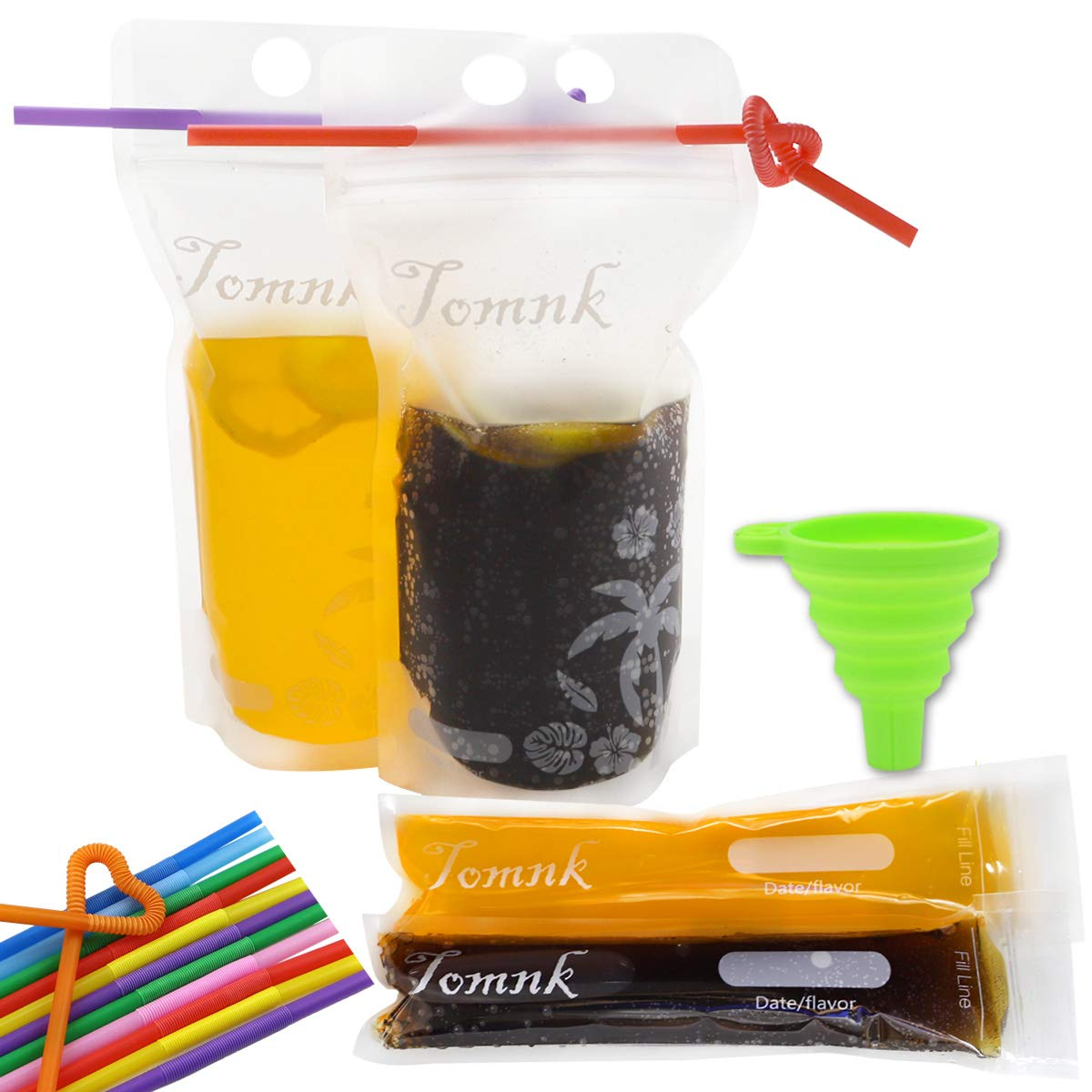 Tomnk 201Pcs Disposable Pouches Sets - 100Pcs Disposable DIY Ice Pop Mold Bags and 50Pcs Zipper Plastic Pouches Drink Bags with 50Pcs Straws & Funnel Included