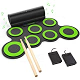 PAXCESS Electronic Drum Set, Roll Up Drum Practice Pad Midi Drum Kit with Headphone Jack Built-in Speaker Drum Pedals…