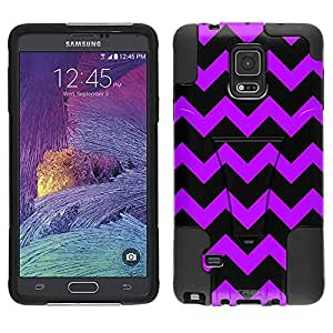 Samsung Galaxy Note 4 Hybrid Case Chevron Purple Black 2 Piece Style Silicone Case Cover with Stand for Samsung Galaxy Note 4