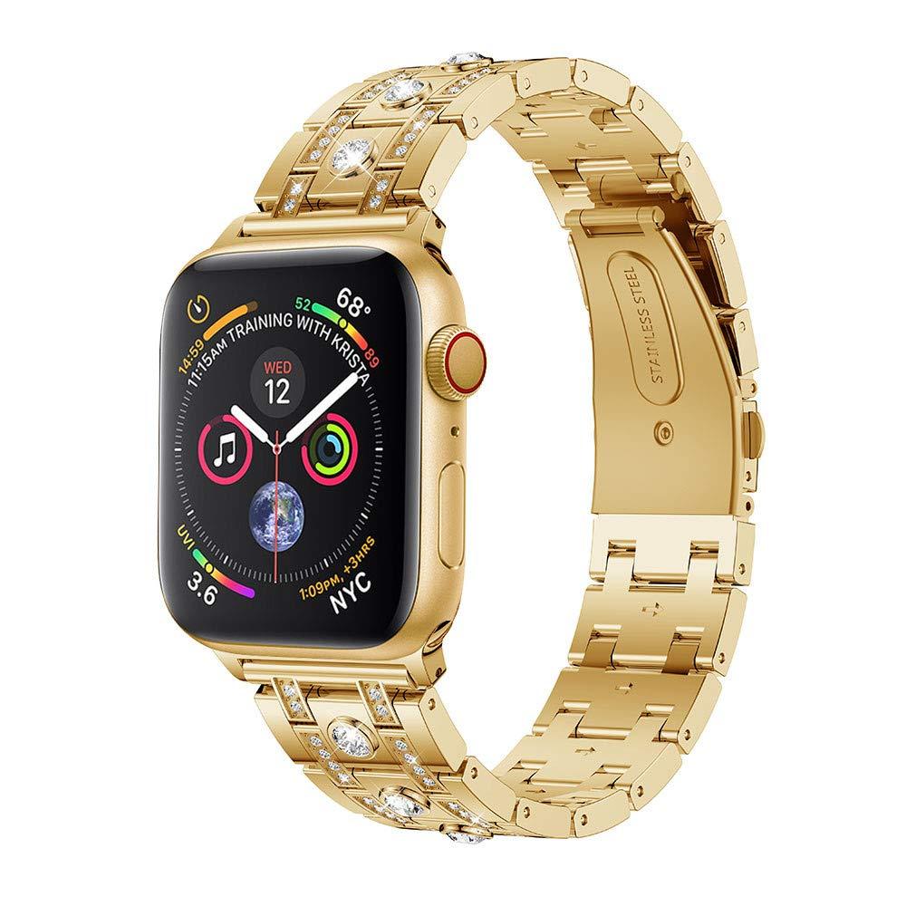 Apple Watchシリーズ4 腕時計バンド ラインストーン 交換用 H型 ダイヤモンド アクセサリー ストラップ ブレスレット バンド Apple Watch シリーズ4 (40mm) シルバー B07J9ZPKRS  ゴールド