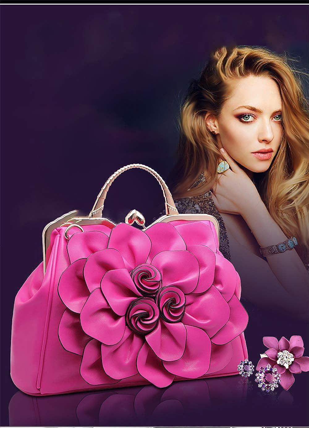 Borse da donna Moda Rose Flower Borsa a tracolla con manico a tracolla Borsa da donna in pelle PU con platino Lightgreen