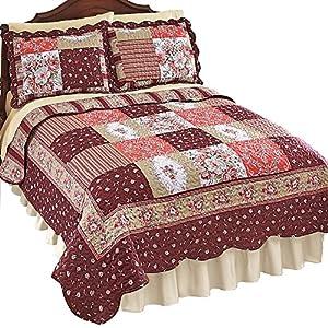 Amazon.com: Carissa Country Patchwork Quilt, Burgundy