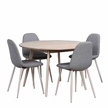 Pharao24 Essgruppe mit rundem Tisch Eiche Grau: Amazon.de: Küche ...