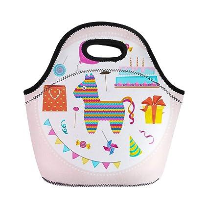 6227838a00bb Amazon.com: Semtomn Neoprene Lunch Tote Bag Goodie Birthday Stuff ...