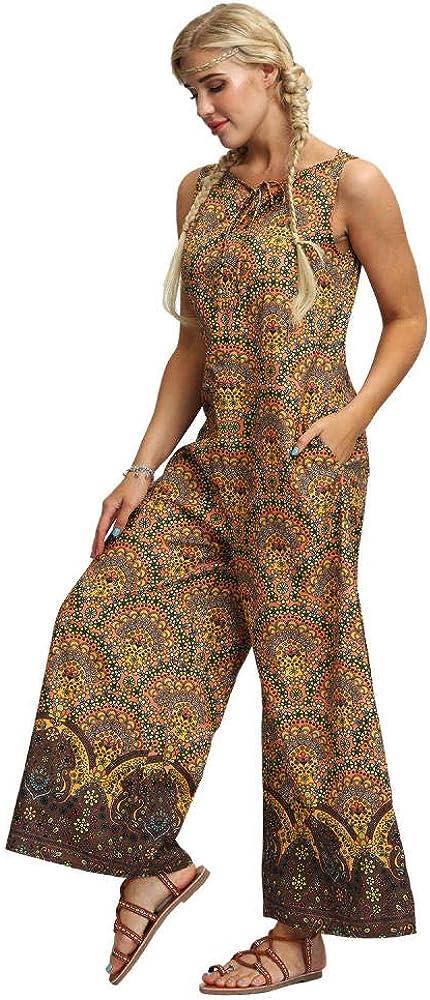 Leggings y Medias Deportivas para Mujer Pantalones sin Mangas con Estampado Floral para Mujer, Mono sin Mangas led, Pantalones Sueltos con Cremallera en la Espalda