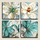 Niwo Art TM - Teal Flower Combo, Floral painting Artwork - Giclee Wall Art for Home Decor,Office or Lobby, Gallery Wrapped, Stretched, Framed Ready to Hang (16''x16''x3/4'')