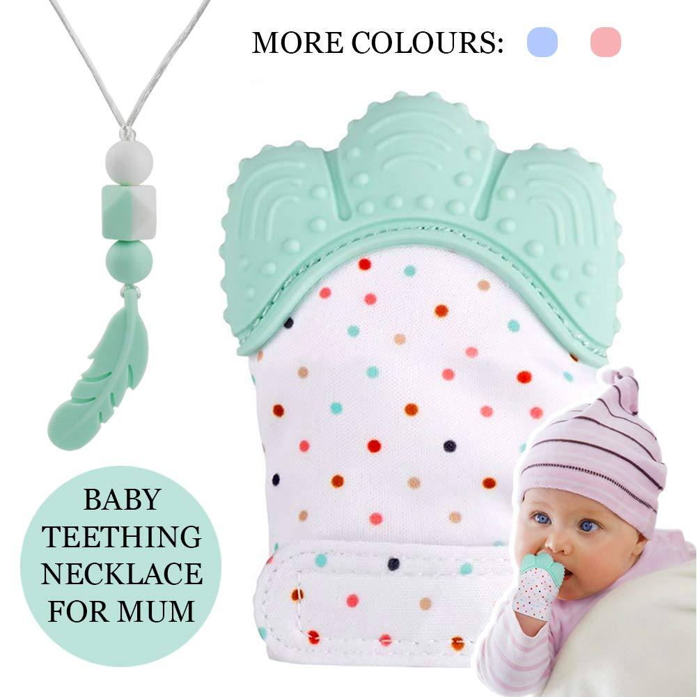 KEFU Baby Teething Mittens&Silicone Teething Necklace for mom, Self Soothing Pain Relief Mitt Stimulating,Stylish Chewable Necklace,Silicone Teether Toy,Unisex (Light Green)  Price: £6.99