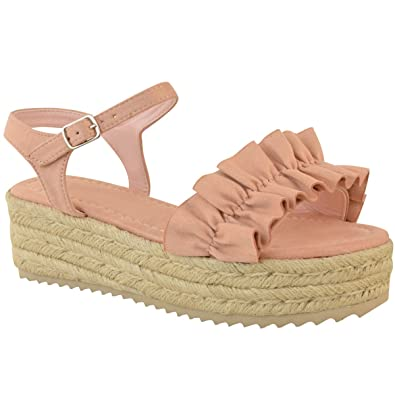 a8cc09290c1f Fashion Thirsty Womens Ladies Flatforms Wedge Sandals Frilly Summer  Platforms Shoes Comfy Size