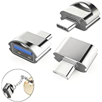 USB C Adapter to USB 3.0 with OTG (3 Packs), High Speed Mini USB Type C Adapter with Aluminum Body and Keychain for New MacBook, MacBook Pro 2016, ChromeBook Pixel and More Devices with USB Type C Port, Colorful with Bottom Keychain (Silver)