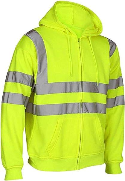 Hi Vis Viz Jacket Sweatshirt Jumper Zipper Fleece Hoodie Work Safety Visibility