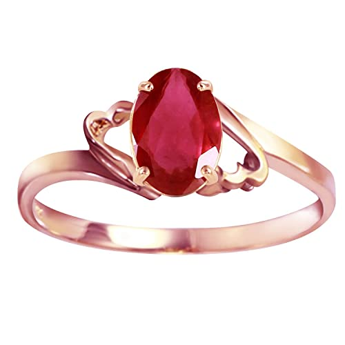 Galaxy Gold Genuine 14k Solid Rose Gold Ring with 1.15 Carat Natural Oval-Shaped Ruby
