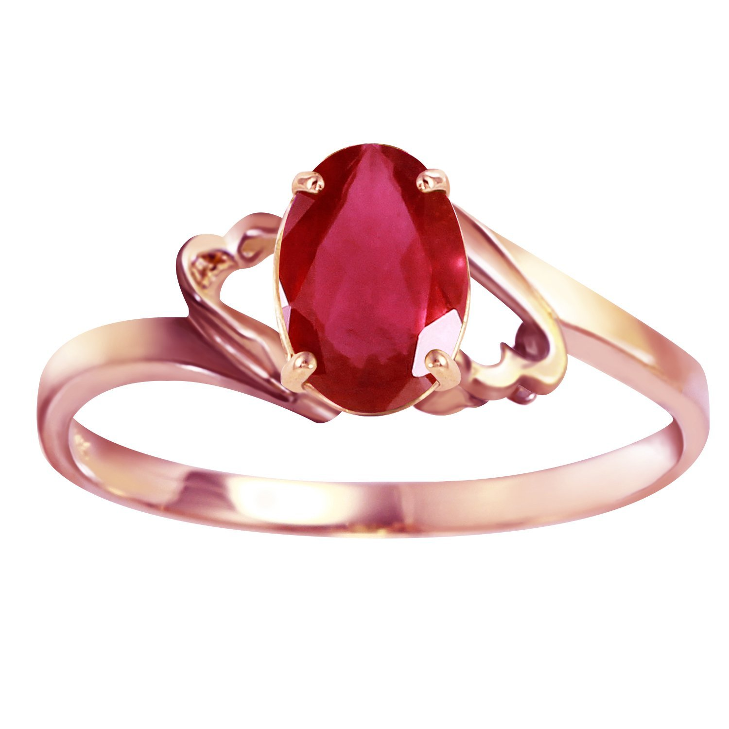 1.15 Carat 14k Solid Rose Gold Ring with Natural Oval-Shaped Ruby - Size 8.5