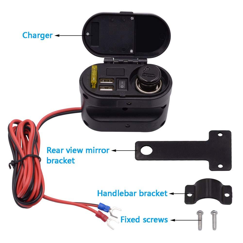 presa USB caricatore accendisigari per moto lzndeal Cavo di ricarica per auto impermeabile multifunzione per moto