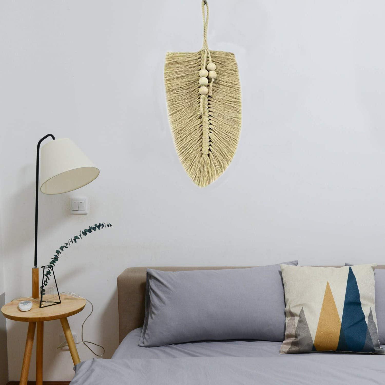 Nice Dream D/écoration murale en macram/é avec plumes et feuilles en coton D/écoration murale avec perles en bois beige