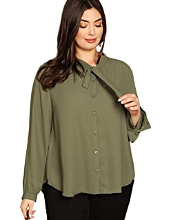 070b7b28ecaf56 Romwe Women's Plus Size Loose Casual Long Sleeve Bow Tie Blouse Top Shirts