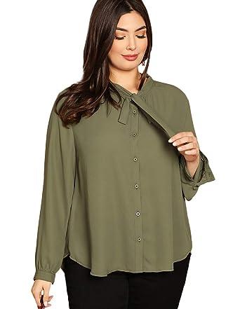 2b4a99804d15a8 Romwe Women's Plus Size Elegant Solid Long Sleeve Bow Tie Chiffon Workwear  Blouse Top Green 0XL