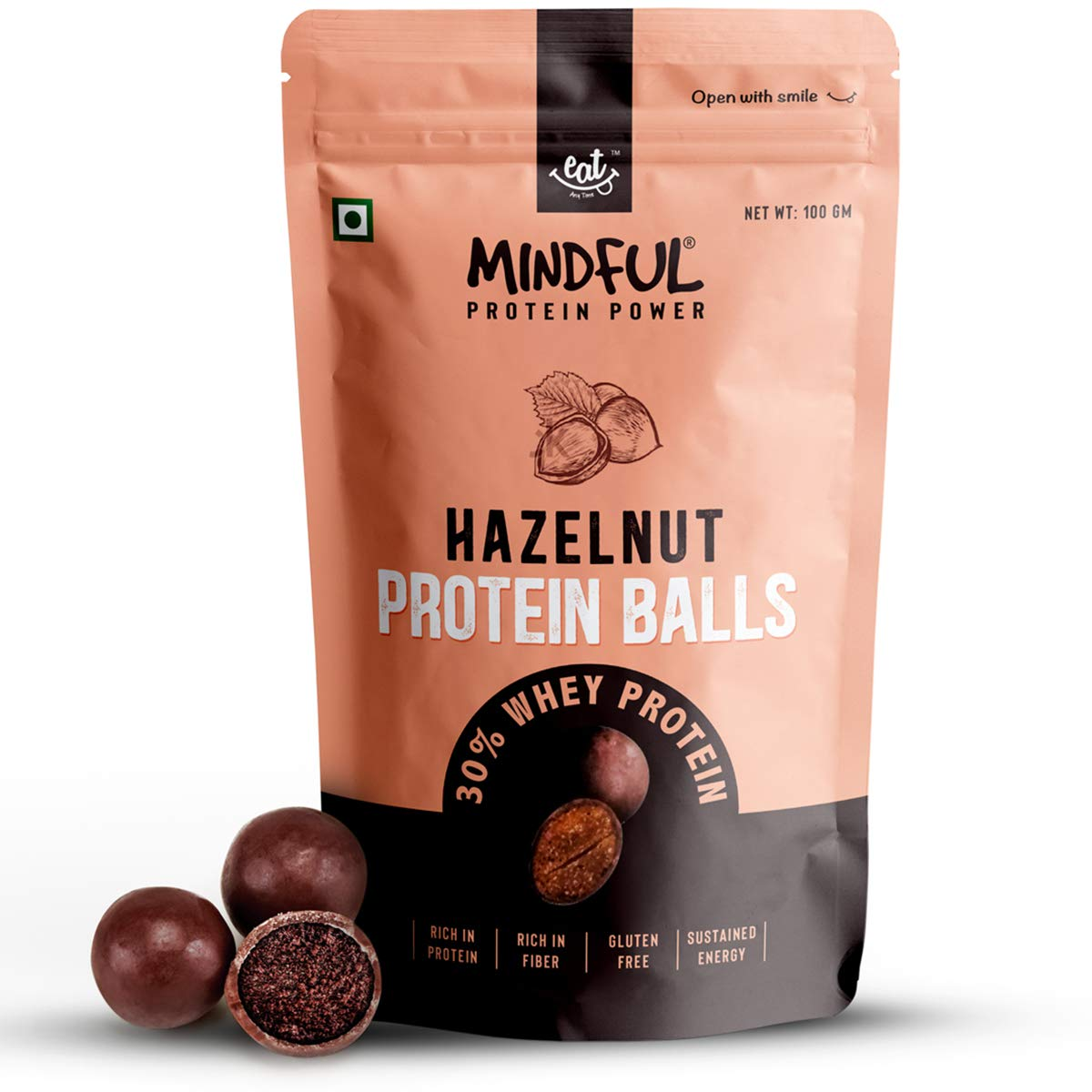 Eat Anytime Mindful Hazelnut Protein Energy Balls 30 Whey Protein Snack Pack Of 3 300g 10 Protein Balls X 10g Amazon In Health Personal Care