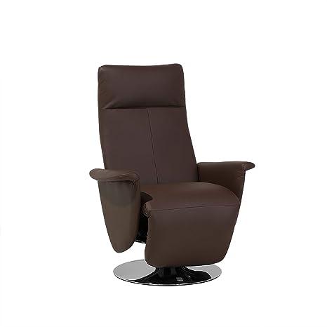 Beliani Sillón reclinable en Piel sintética marrón Prime ...