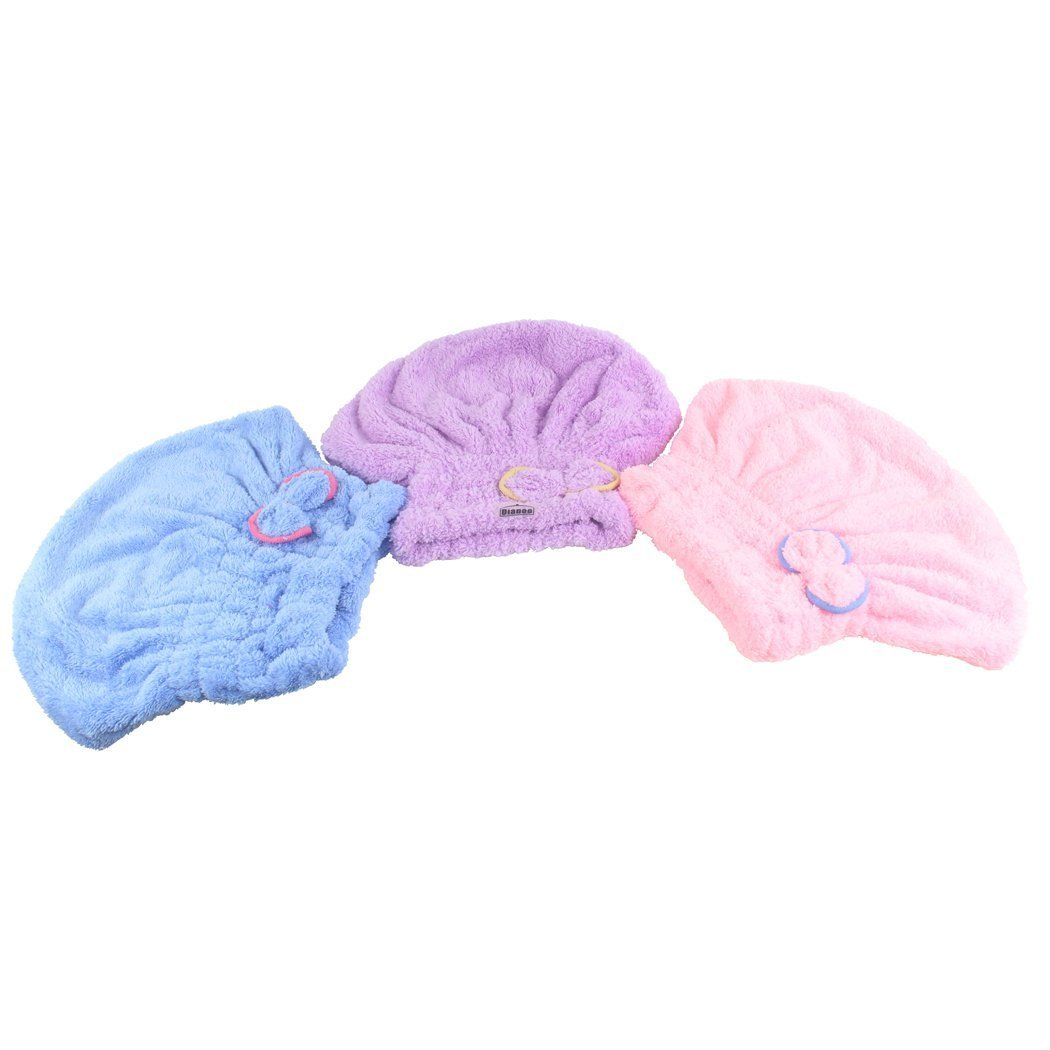 Dianoo 3PCS Dry Hair Hat, Women Cute Dry Hair Cap, Cute Bowknot Ultra Absortbent Shower Bath Spa Cap, Hair Drying Wrap Cap, 3PCS (random colors) worth2buy SYNCHKG104610