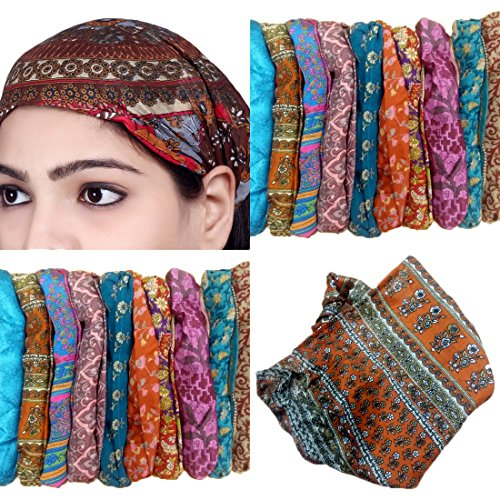 Sarjana Handicrafts Lot 10 Pieces Womens Mens Silk Headband Printed Hairband Bandana Wrap Band (Multicolored - Silk Lined Wrap