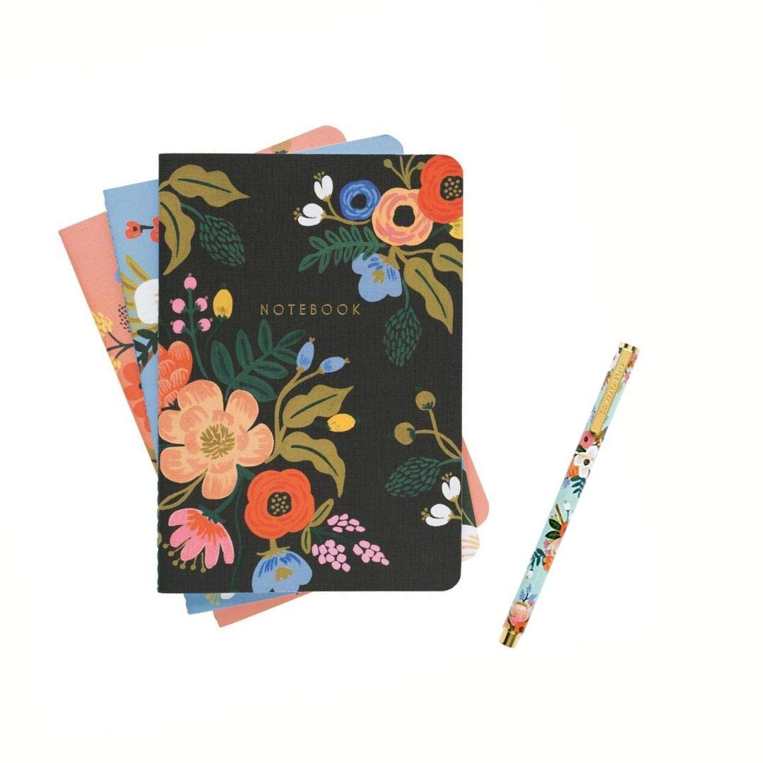 Rifle Paper Deluxe Two Piece Set of 3 Notebooks and Pen - Lively Floral