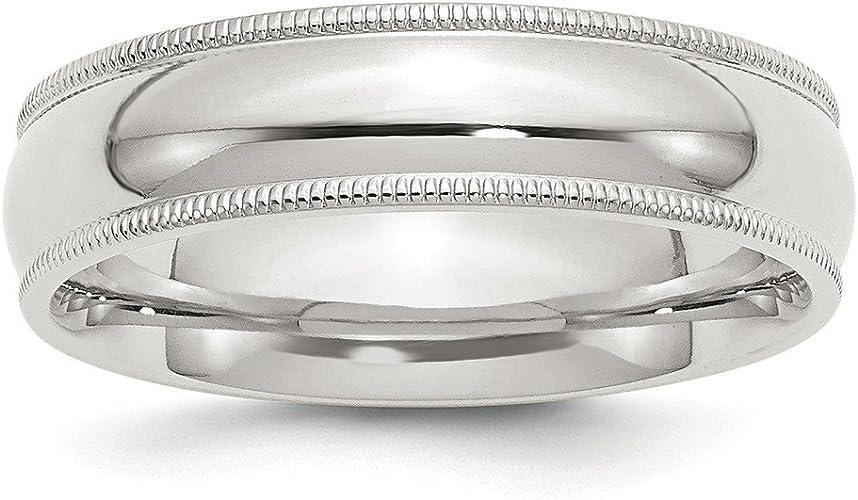 Sterling Silver Wedding Band Ring Milgrain Comfort Half Round Solid Polished 6 mm 6mm Milgrain Comfort Fit Band