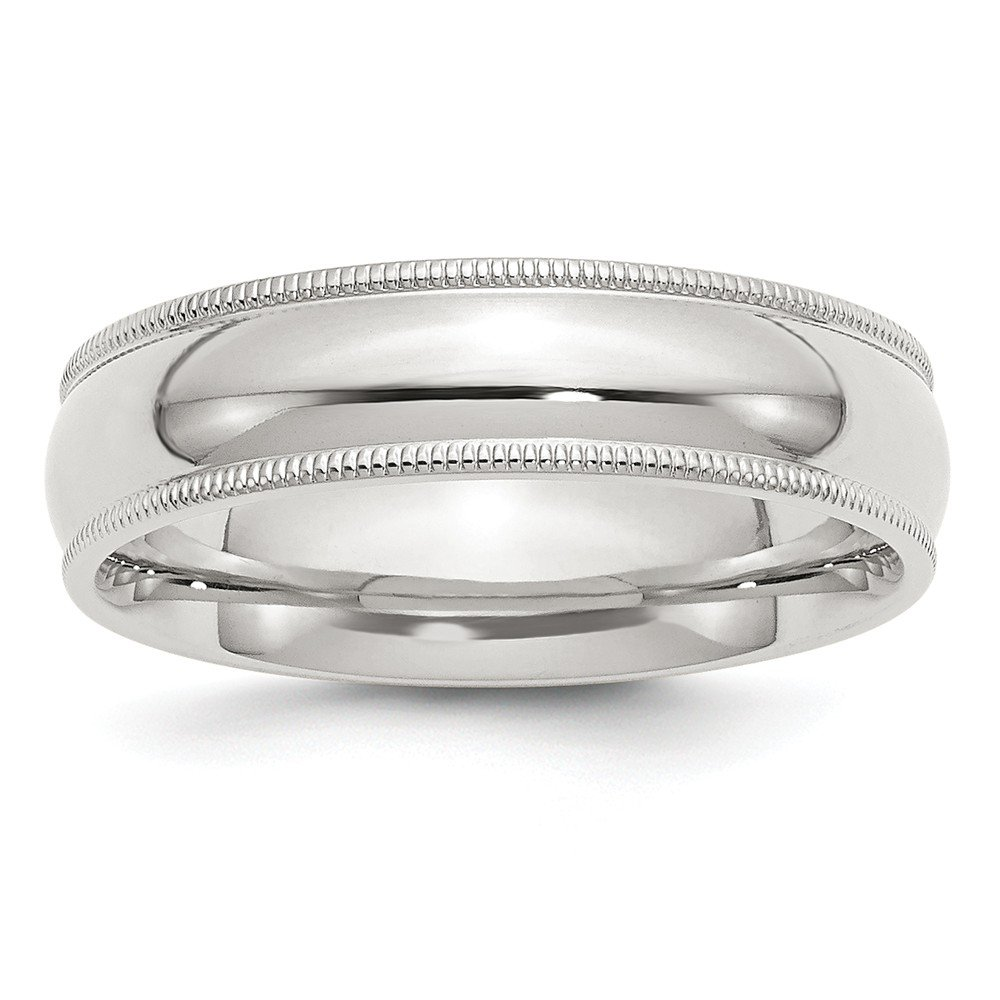 Size 11 Solid 925 Sterling Silver 6mm Milgrain Comfort Fit Wedding Band