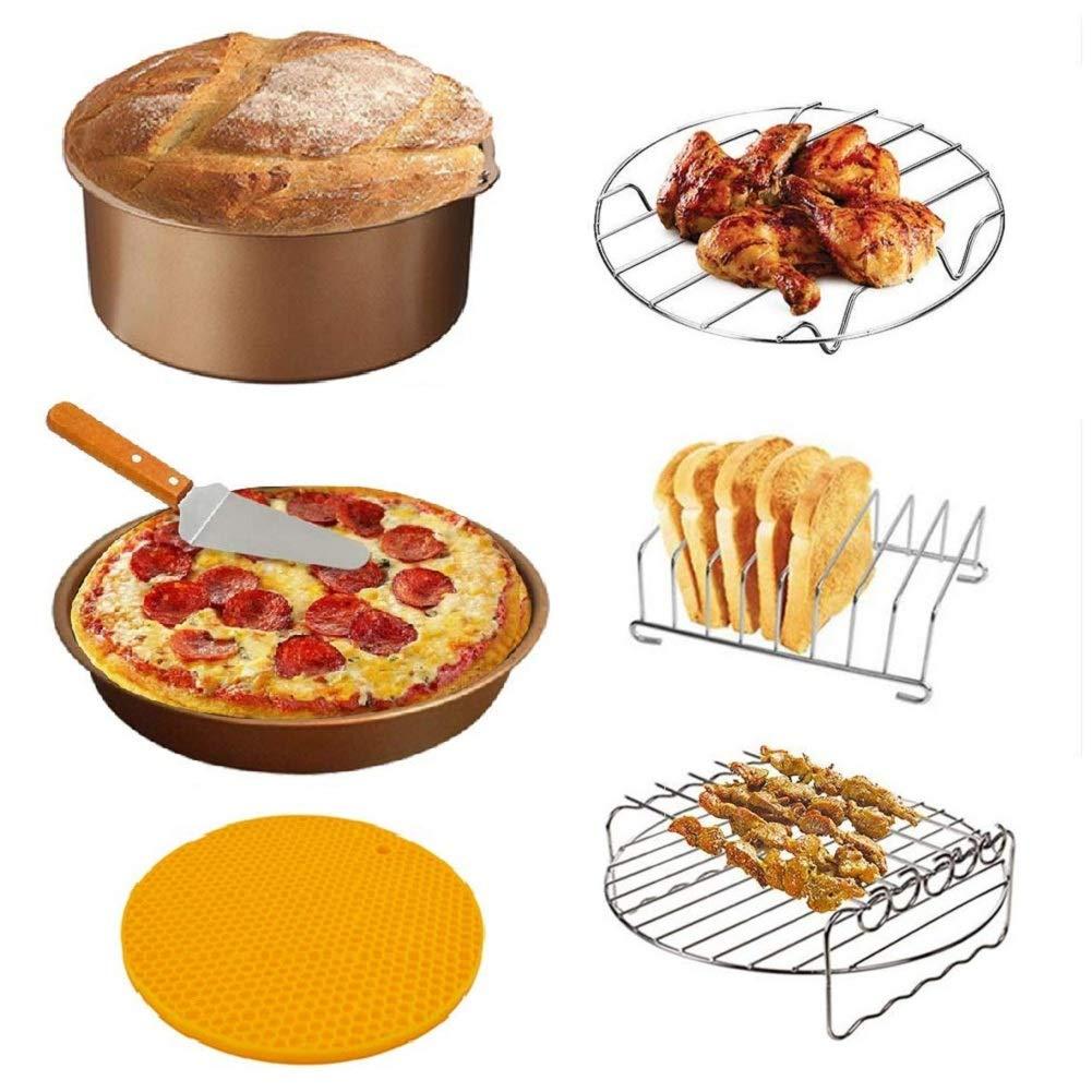Air Fryer Accessories Fit for 3.7QT-5.8QT Ninja Gourmia Cosori Phillips Cozyna Nuwave Gowise Air Fryers (6 Pcs Golden)