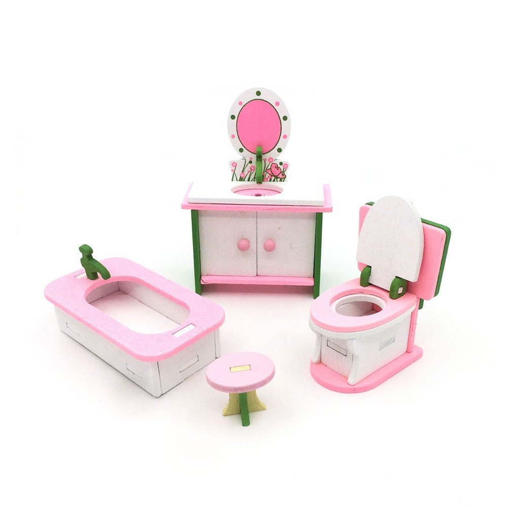 Kids baby mini wooden kitchen set play house set room living room set decoration toys a quality small toddler toy kitchen house room living room playset b
