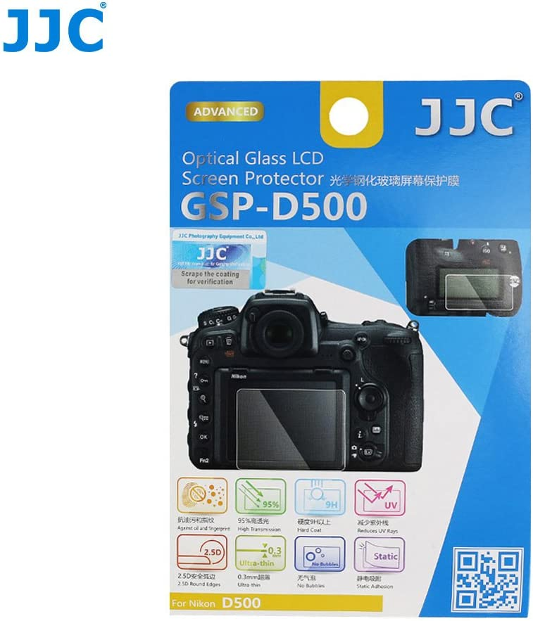 JJC GSP-D500 Coque de Protection d/écran LCD en Verre Optique pour Nikon D500 0,3/mm
